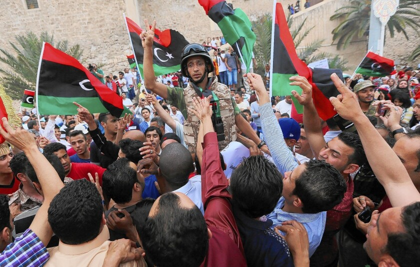 Libyans rally in Tripoli in May in support of rogue former Gen. Khalifa Haftar, who has begun an armed campaign he says is aimed at bringing stability to the nation.