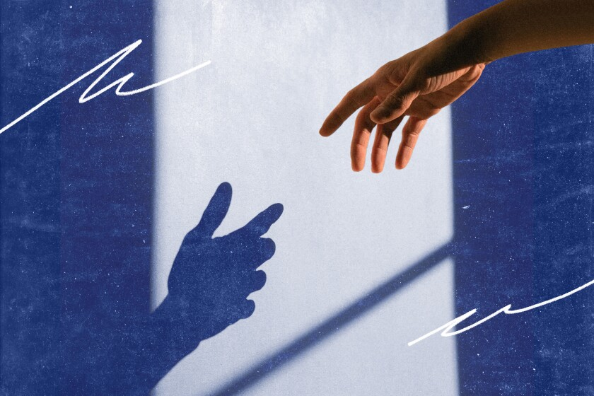 Illustration of a silhouette of a hand reaching out to another outstretched hand