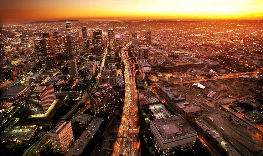 View of the 110 freeway slicing through downtown Los Angeles photographed from a helicopter, Nov. 8,