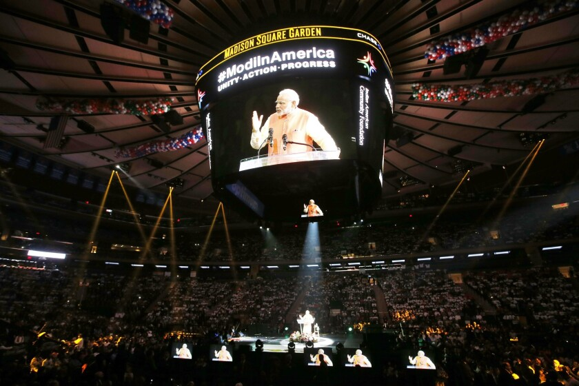 India's leader a hit at Madison Square Garden