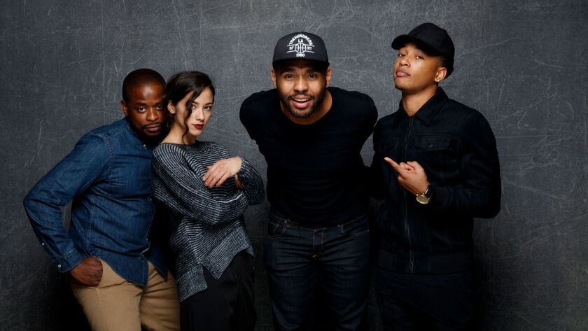 "Dulé Hill, from left, Seychelle Gabriel, JD Dillard, writer and director, and Jacob Latimore from the film ""Sleight"" pose for a portrait at the Sundance Film Festival."