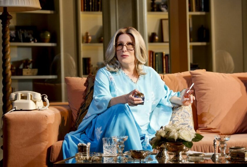 """Bette Midler portrays Sue Mengers in the Broadway production of """"I'll Eat You Last"""" at the Booth Theatre."""