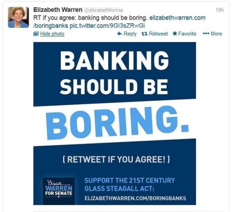 Sen. Elizabeth Warren starts campaign to force banks to be boring