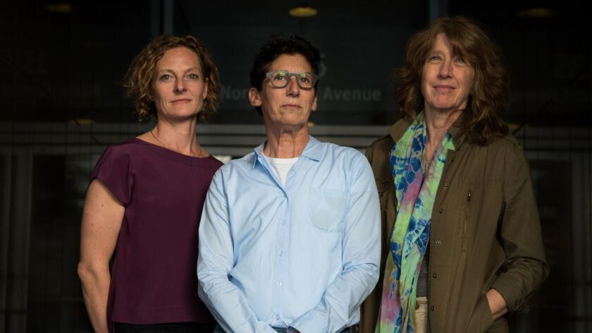 From left, choreographer Flora Wiegmann, artist Susan Silton and pianist Vicki Ray.