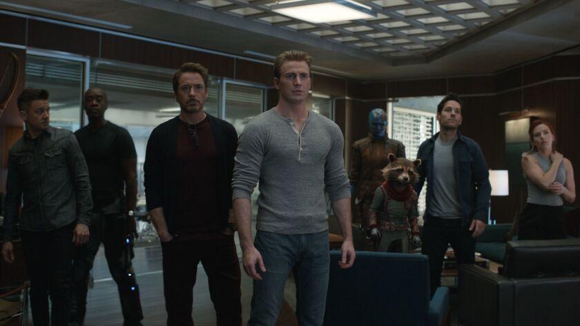 (L-R)- Hawkeye/Clint Barton (Jeremy Renner), War Machine/James Rhodey (Don Cheadle), Iron Man/Tony