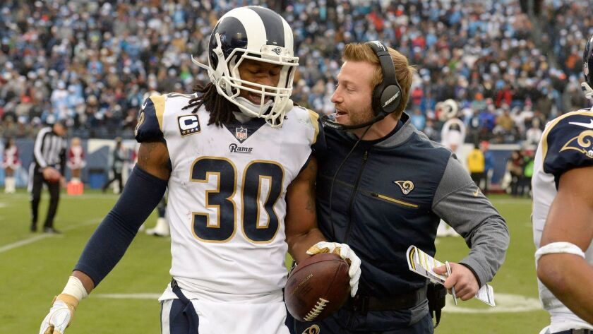 Coach Sean McVay had not anticipated Todd Gurley would be leaving the Rams after his successful start in L.A.