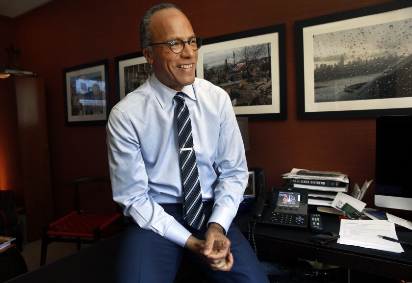 """Lester Holt, who was named anchor of """"NBC Nightly News,"""" replacing Brian Williams, is seen in his office at NBC headquarters in New York on June 22, 2015."""