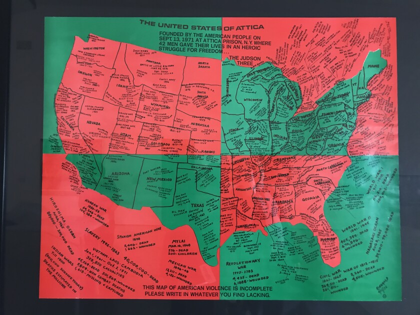 """""""United States of Attica,"""" 1971-72, a green and red print by Faith Ringgold, maps violent incidents in U.S. history on a map"""