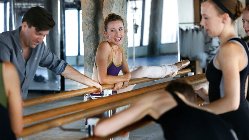 A light moment during rehearsals for a new piece by American Contemporary Ballet.
