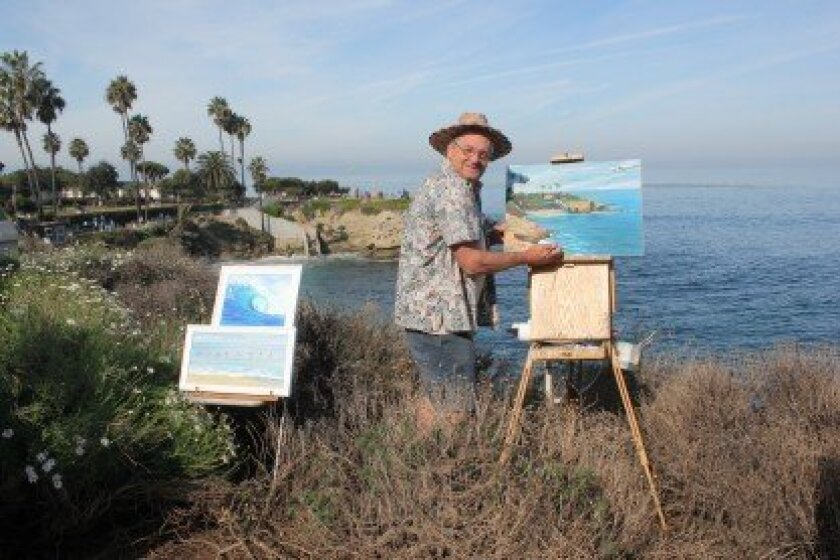 "Artist Robert Higgins does some plein-air painting after learning that city workers installed a gate above La Jolla Cove. Higgins said he hoped his presence would also help disperse birds and sea lions from the cliffs below. ""I think this is going to have a beneficial effect,"" Higgins said of the g"
