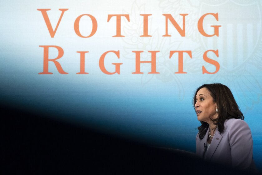 Vice President Kamala Harris speaks about voting rights, Wednesday, June 23, 2021, during a virtual event at the South Court Auditorium on the White House complex in Washington. (AP Photo/Jacquelyn Martin)
