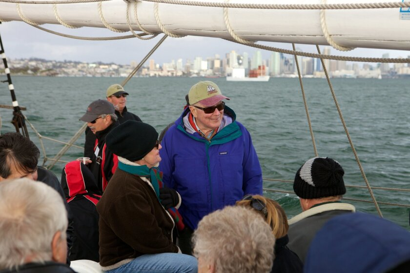 Huell Howser and KPBS Producers Club members on board the tall ship Californian on April 14, 2012 as part of a KPBS event. CREDIT: Spark Photography