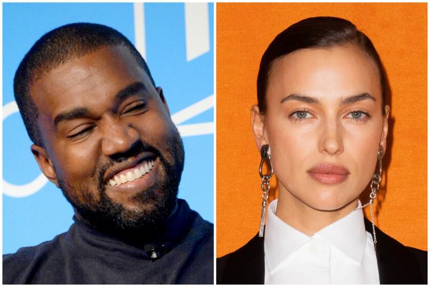 Headshots of Kanye West and supermodel Irina Shayk