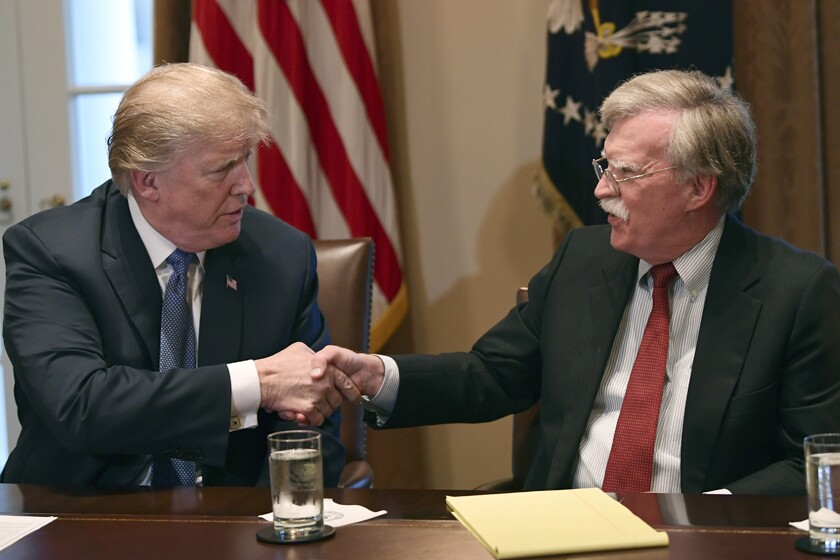 President Trump with national security advisor John Bolton in April 2018.