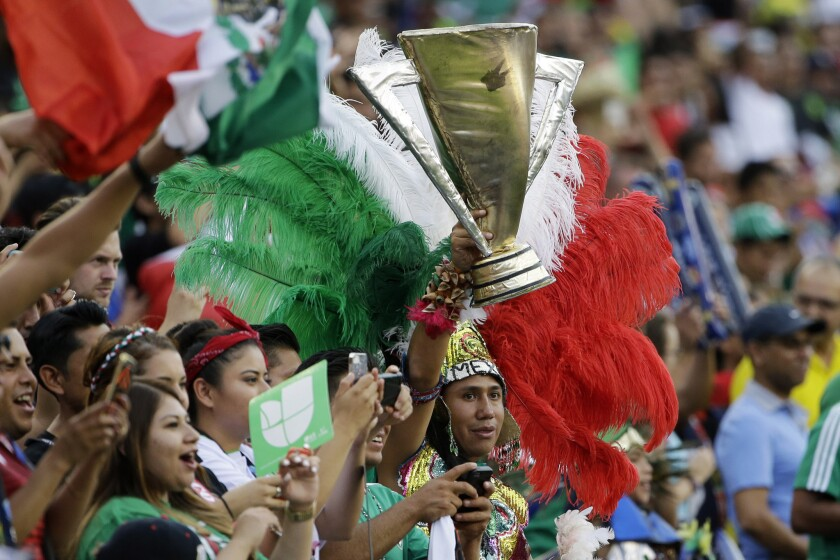 Fans cheer before the CONCACAF Gold Cup championship soccer match between Mexico and Jamaica, Sunday, July 26, 2015, in Philadelphia. (AP Photo/Matt Rourke)