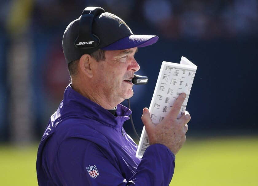 Minnesota Vikings head coach Mike Zimmer watches from the sideline during the first half of an NFL football game against the Chicago Bears, Sunday, Nov. 1, 2015, in Chicago. (AP Photo/Charles Rex Arbogast)