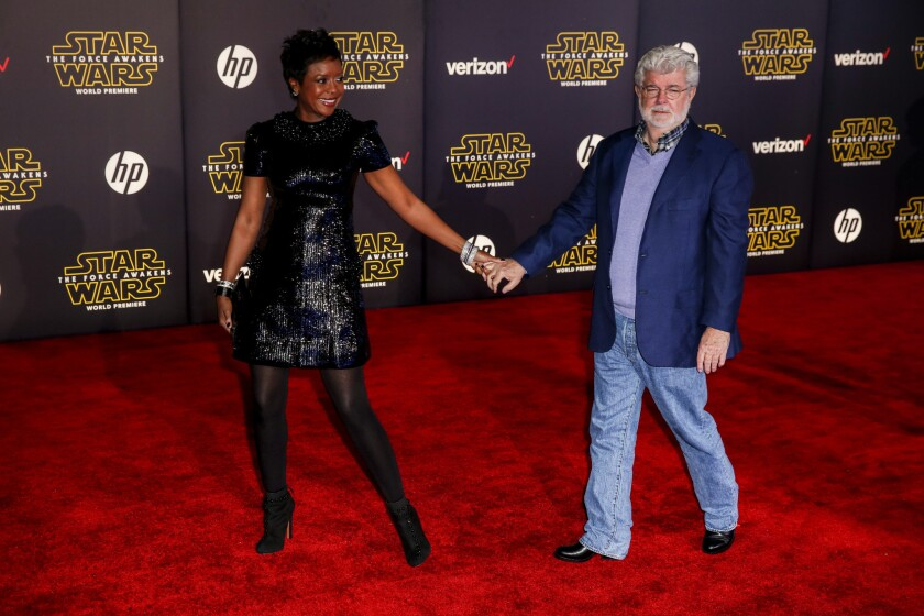 """George Lucas and his wife Mellody Hobson, at the Los Angeles premiere of """"Star Wars: The Force Awakens,"""" on Dec. 13."""