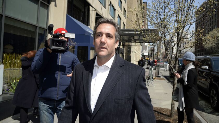 Michael Cohen, president Donald Trump's personal lawyer, walks on Park Avenue on April 11 in Manhattan.