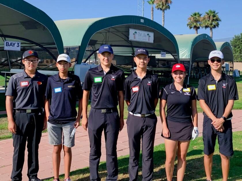 Youth Golf Alliance instructors Johnavon Kim, Jacob Zhang, Spencer Zhang, Kenny Zhang, Sofina Firouzi, Christopher Liu