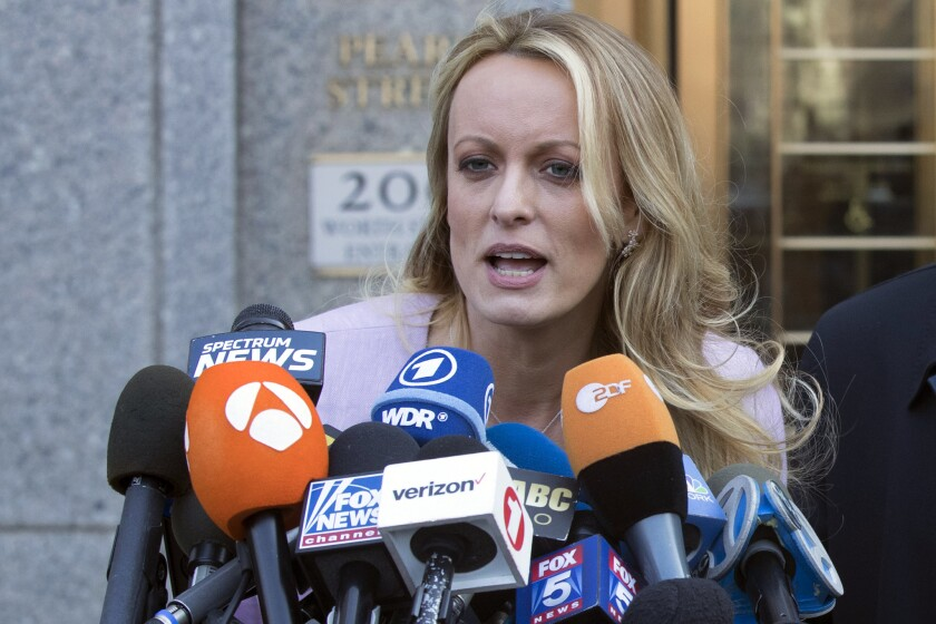 Adult film actress Stormy Daniels speaks outside federal court in New York in 2018.