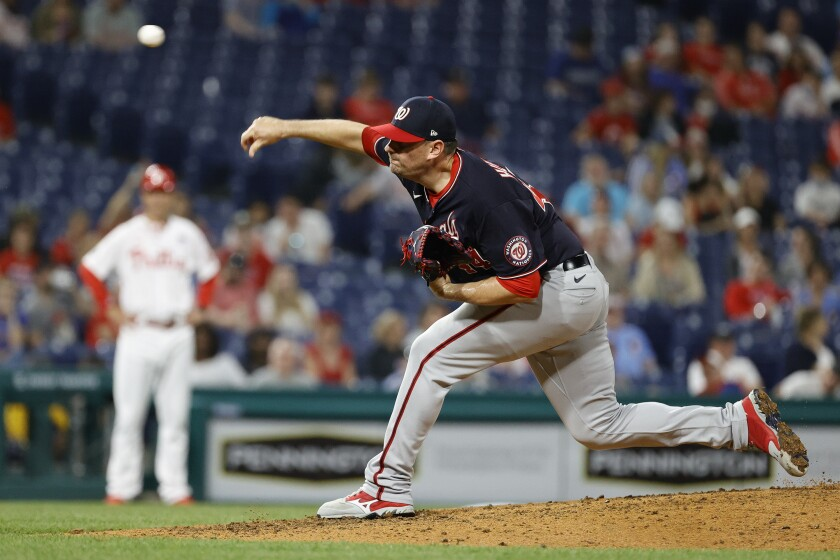 Daniel Hudson pitches for the Washington Nationals in a game against the Philadelphia Phillies on June 4.