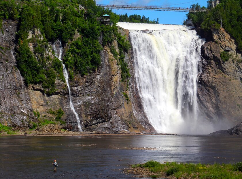 Quebec, Montmorency Falls with Fisherman