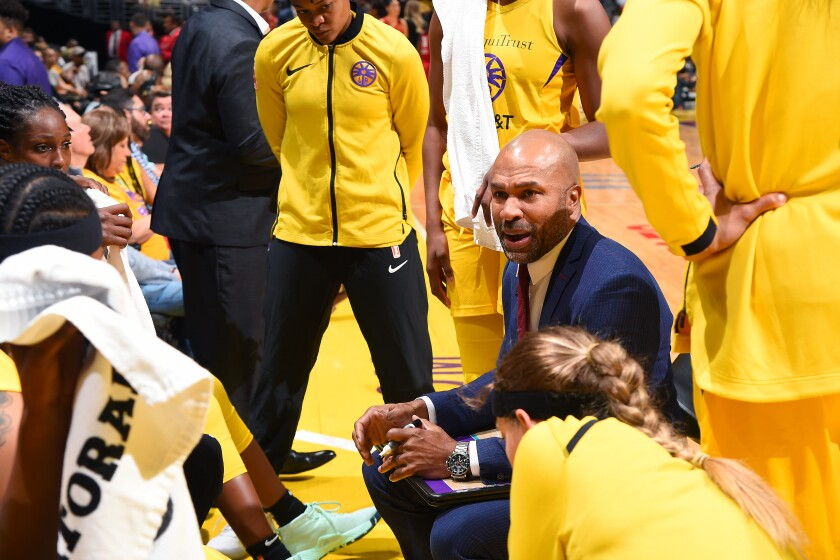 Sparks coach Derek Fisher speaks to the team during a game against the Las Vegas Aces on Aug. 1, 2019 at Staples Center.