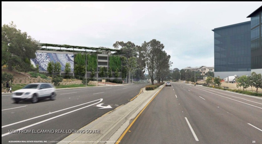A rendering of the parking garage as it will be seen from El Camino Real.