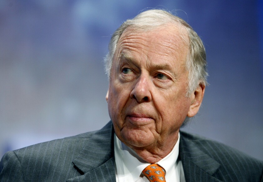 FILE - In this Sept. 25, 2018, file photo, billionaire energy magnate T. Boone Pickens, chairman of BP Capital Management, participates in the opening plenary at the Clinton Global Initiative annual meeting New York. Pickens, a brash and quotable oil tycoon who grew even wealthier through corporate takeover attempts, died Wednesday, Sept. 11, 2019. He was 91. (AP Photo/Jason DeCrow, File)