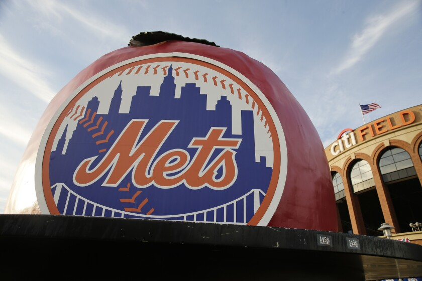 The New York Mets logo is displayed Citi Field before Friday's Game 3 of the Major League Baseball World Series.