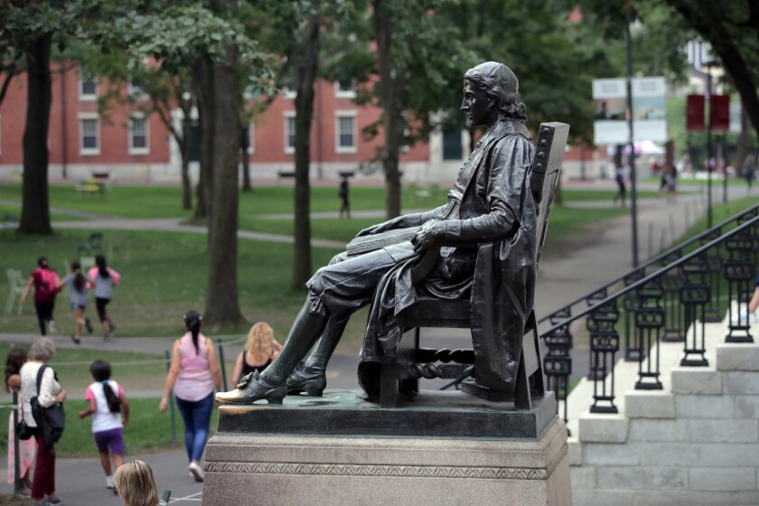 Statue of John Harvard in Harvard Yard
