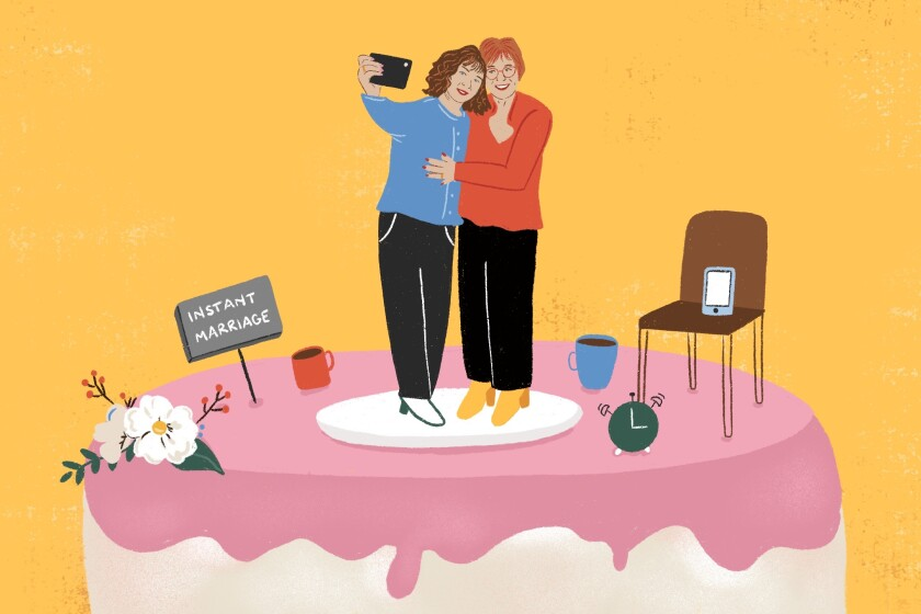 Illustration of two longtime partners atop wedding cake getting married.