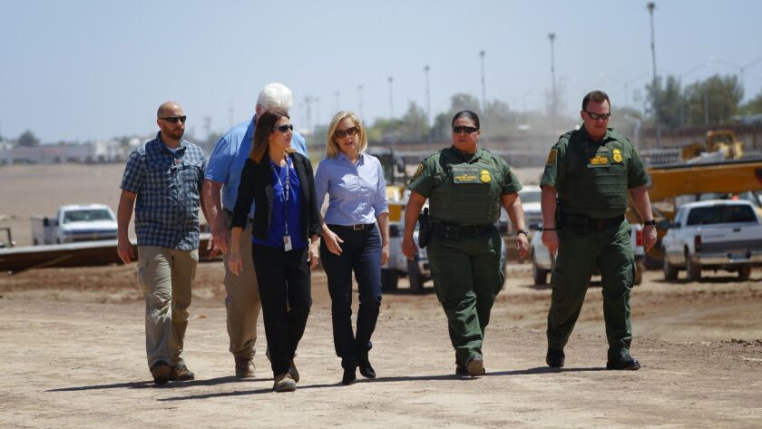 U.S. Department of Homeland Security Secretary Kirstjen M. Nielsen stopped for a brief visit along t