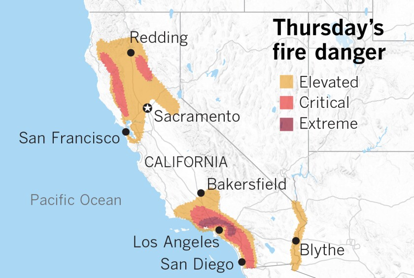 Thursday's fire danger forecast for California