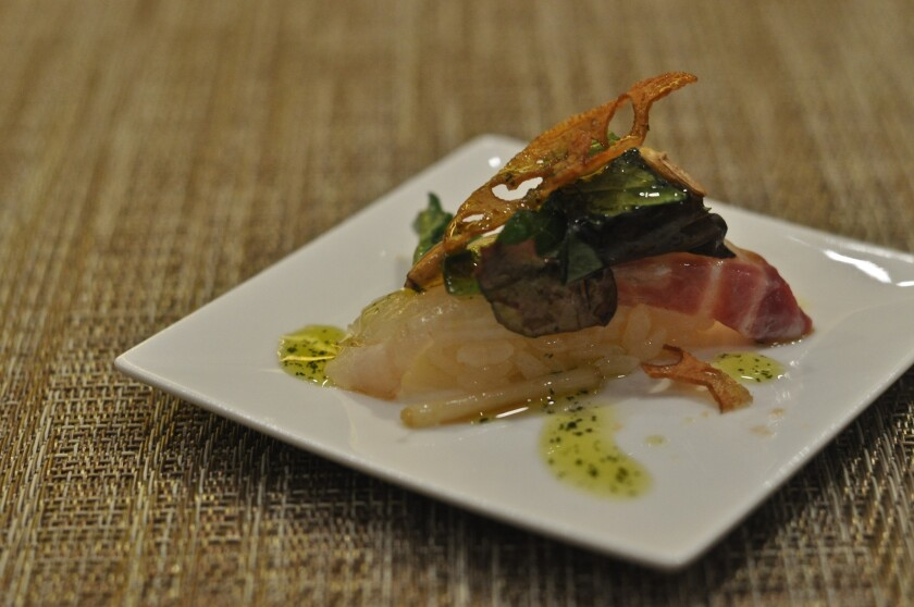 Japanese red snapper with fried lotus root at Sushi of Gari in Hollywood.