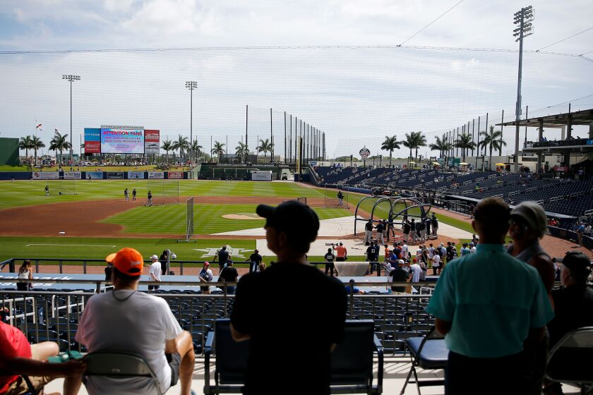 Fans looks on during batting practice before a spring training game between the Nationals and the Yankees.