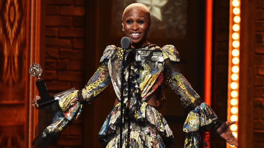 """Cynthia Erivo accepts her award for """"The Color Purple"""" during the Tony Awards."""