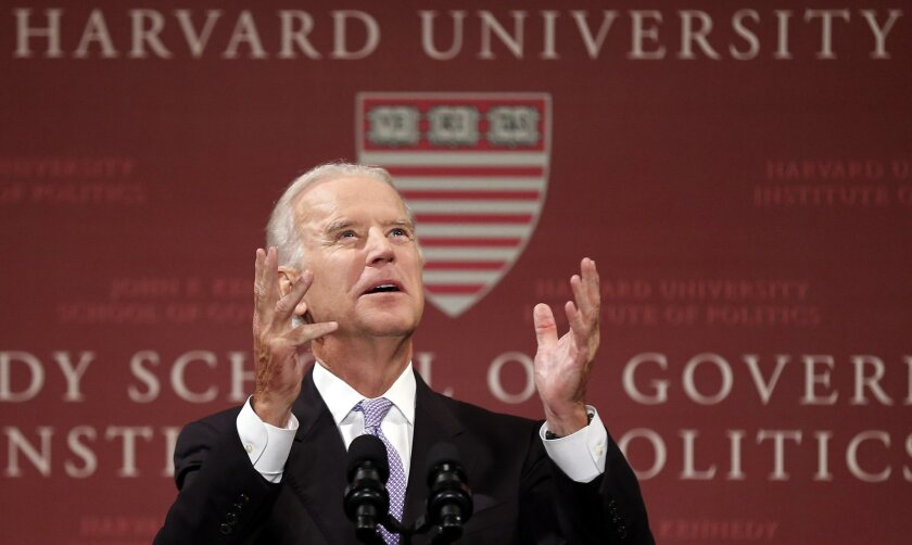 Vice President Joe Biden speaks to students faculty and staff at Harvard University's Kennedy School of Government in Cambridge, Mass. Thursday, Oct. 2, 2014. (AP Photo/Winslow Townson)