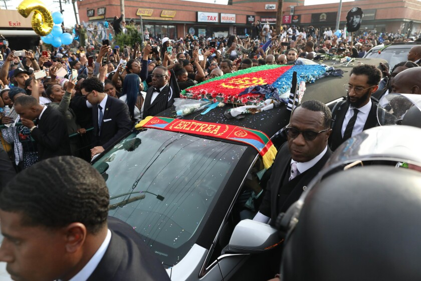 LOS ANGELES, CALIF. -- THURSDAY, APRIL 11, 2019: Nipsey Hussle Celebration of Life procession in Los