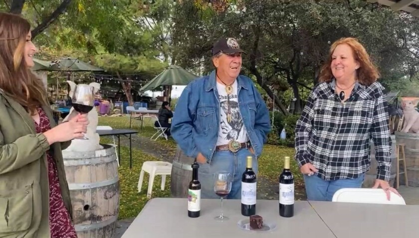 Allie interviewing Johnny and Shirley of Schwasdall Winery.