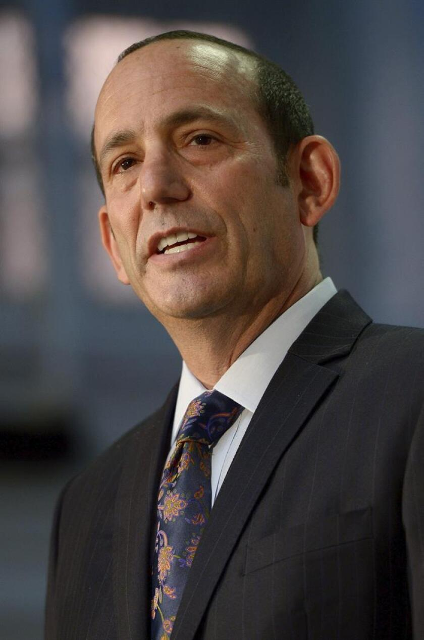 Don Garber, the Commissioner of Major League Soccer, speaks during a press conference announcing the New York City Football club, a new Major League Soccer team, in New York, New York, USA, 22 May 2013. The team, which is MLS' 20th expansion team, will begin playing in 2015 and is partnership of Manchester City Football Club and the New York Yankees baseball team. EPA/JUSTIN LANE