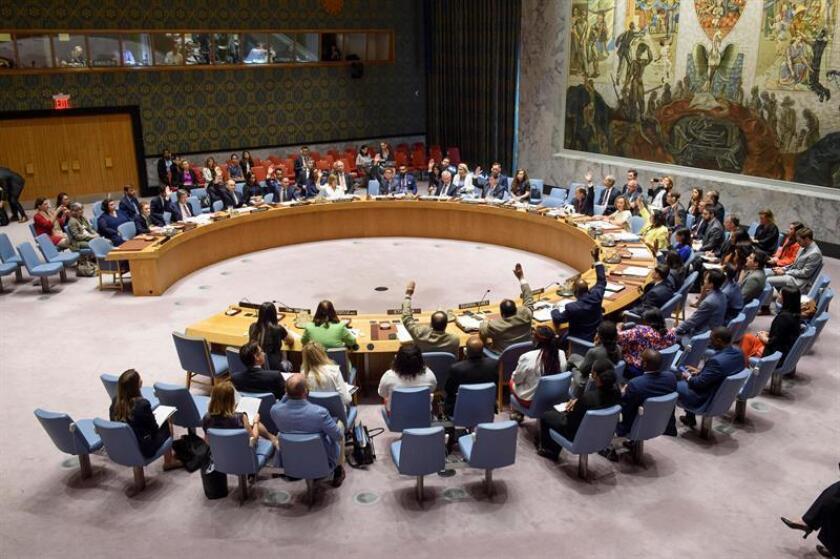 Fotografía cedida por la ONU donde aparece el pleno del Consejo de Seguridad durante una reunión el conflicto armado en la sede del organismo en Nueva York (EE.UU.). EFE/Loey Felipe/ONU/SOLO USO EDITORIAL/NO VENTAS