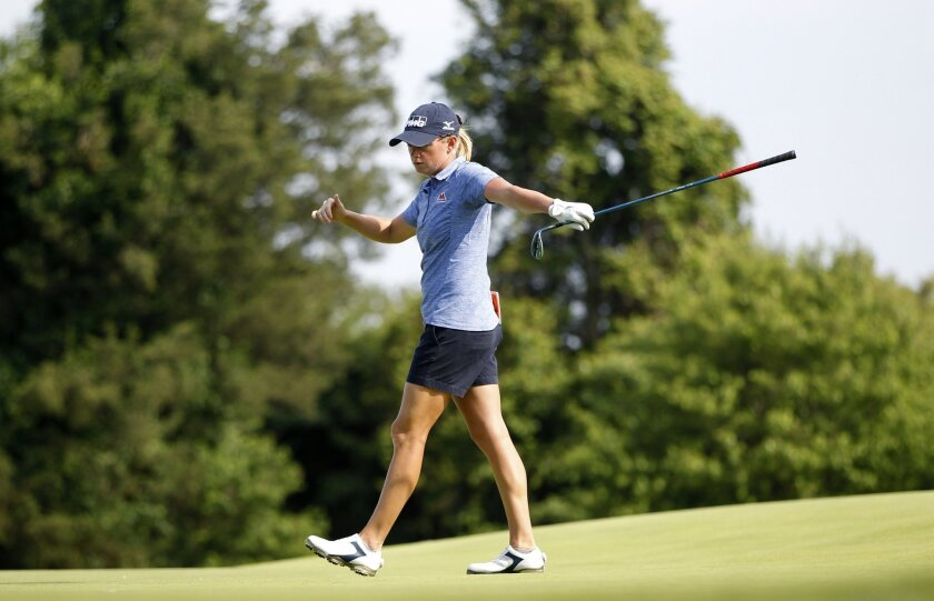 Stacy Lewis reacts to her play on the 13th hole of the second round of the ShopRite LPGA Classic golf tournament, Saturday, June 4, 2016, in Galloway Township, N.J.(AP Photo/Mel Evans)