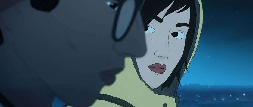 """A male and female character sit together in the animated film """"I Lost My Body."""""""