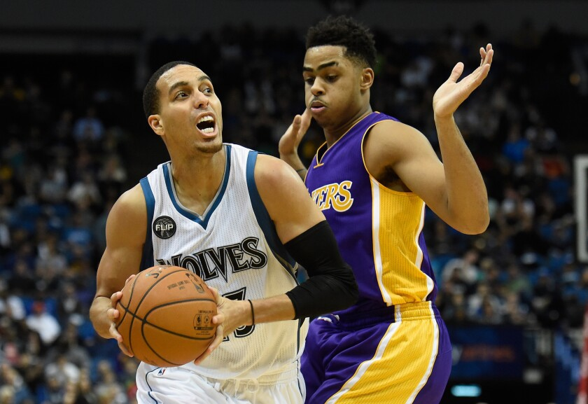 Lakers point guard D'Angelo Russell defends against Timberwolves guard Kevin Martin during the fourth quarter.