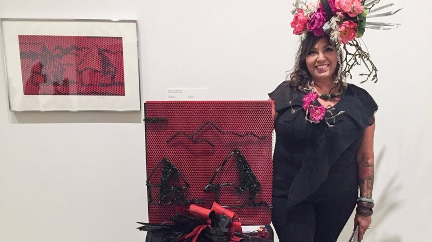 Michelle Frost, with her metal-and-floral response to Roy Lichtenstein's pop-art.