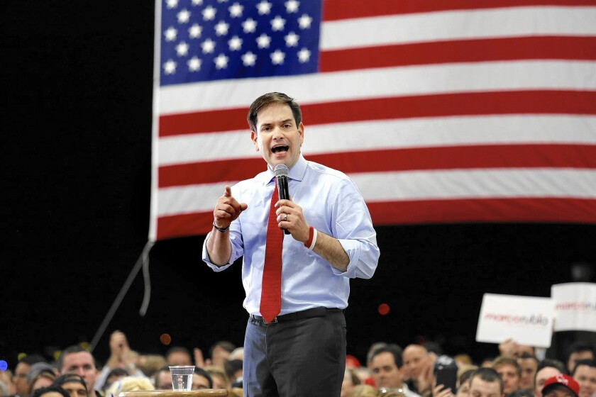 Marco Rubio's campaign says the candidate has no plans to quit and expects to win next week's Florida Republican primary.