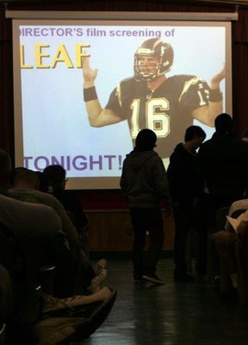 "People take their seats to watch the free screening of ""Leaf,"" the movie about former Chargers quarterback Ryan Leaf."