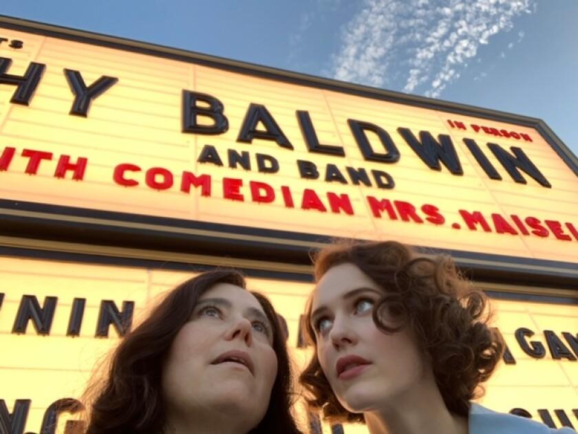 "Rachel Brosnahan, right, with costar Alex Borstein on the set of ""The Marvelous Mrs. Maisel."""