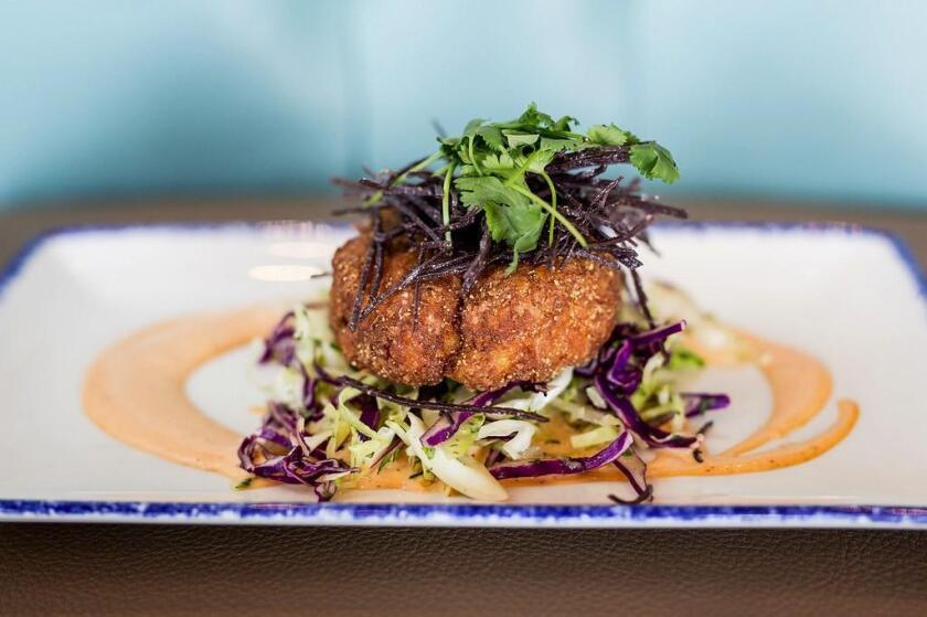 Baja Crab Cake at Waterbar restaurant in Pacific Beach/San Diego